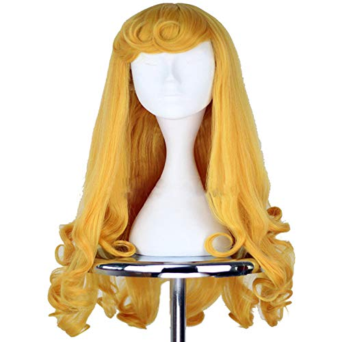 Long Yellow Curly Wig Halloween Costumes for Women Girls Synthetic Hair Wig ()