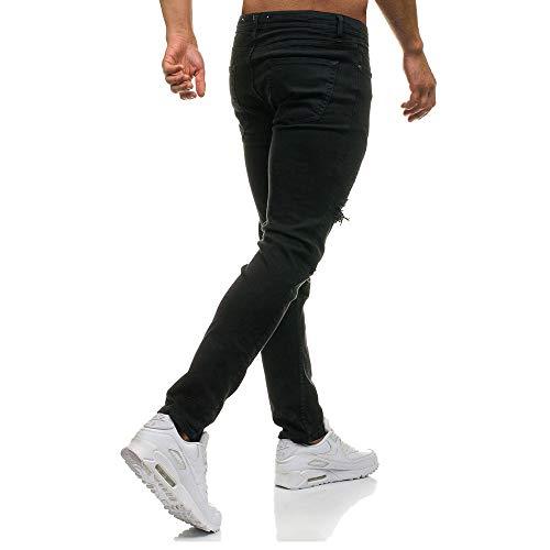 Pantalones y de Negro de Jeans decoración con Mezclilla los fit Hombres Cremallera Rasgados Slim WSP4c