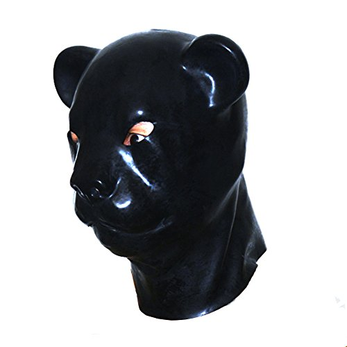 [EXLATEX Latex Hood Leopard Animal Rubber Mask Fetish Accessories with Zipper Closure (One size,] (Monkey See Monkey Do Costume)