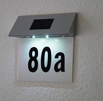 solar powered 2 led illuminated house door number wall light lit up plaque lighting. Black Bedroom Furniture Sets. Home Design Ideas