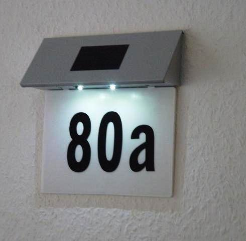 SOLAR POWERED 2 LED ILLUMINATED HOUSE DOOR NUMBER WALL LIGHT LIT UP PLAQUE & SOLAR POWERED 2 LED ILLUMINATED HOUSE DOOR NUMBER WALL LIGHT LIT UP ...