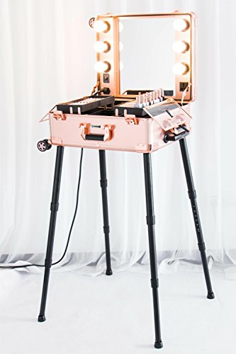 Kemier Makeup Case,Professional Artist Studio Cosmetic Train Table w/4 Rolling Wheels & Lights & Mirror,Pro Makeup Station,Cover Board and Easy Clean Extendable Trays,Adjustable Legs,Sturdy(Rose Gold) (Rolling Makeup Case With Lights And Mirror)