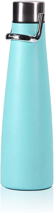Vacuum Insulated Water Bottle Stainless Steel Portable Hot Water Bottle Soup Thermos For Hot Food Hanging Hoop Sports Water Bottle for Hot Cold Drink Indoor Outdoor (Blue)