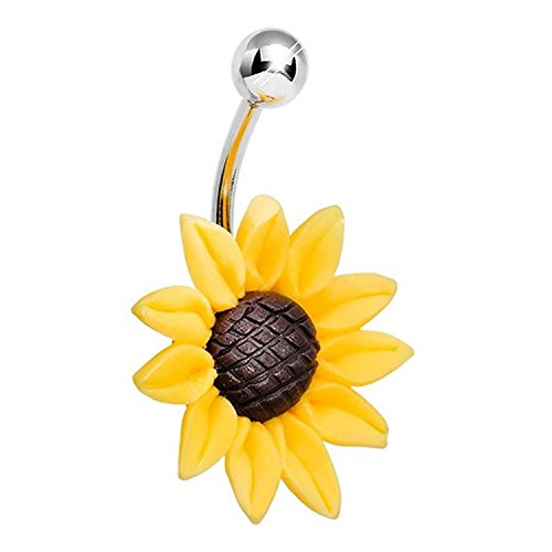 CrazyPiercing Stunning Sunflower Belly Button Ring 14 Gauge (Stainless Steel Sunflower)