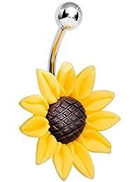 Stunning Sunflower Belly Button Ring 14 Gauge