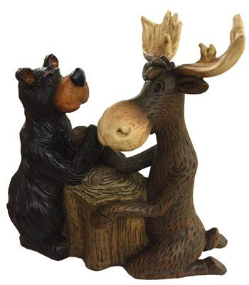(Rustic Axentz Moose Bear Arm Wrestling Collectible Statue Figurine Figure, 6