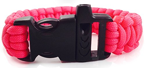 UPC 721577168442, Personal Protection Attack or Rape Whistle. 550 Paracord Bracelet TSA, Air Travel Friendly, Med Alert, Be Safe! Wristband Covers Self Defense Emergency Preparedness Survival Gear Alarm Running Shoes Shoelaces Towing Safety Outdoor Camping Ties (Rose Pink)