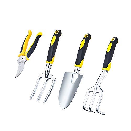 VILIVIT Gel Grip Garden Tools - 4 Piece Plant Care Gardening Hand Tool Sets with Aluminum Heads Ergonomic Handles - Trowel Cultivator Pruner and Weeding Fork Kit (Garden Set Fork Spade And)