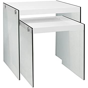 Good Monarch Specialties I 3287,Nesting Table, Tempered Glass, Glossy White