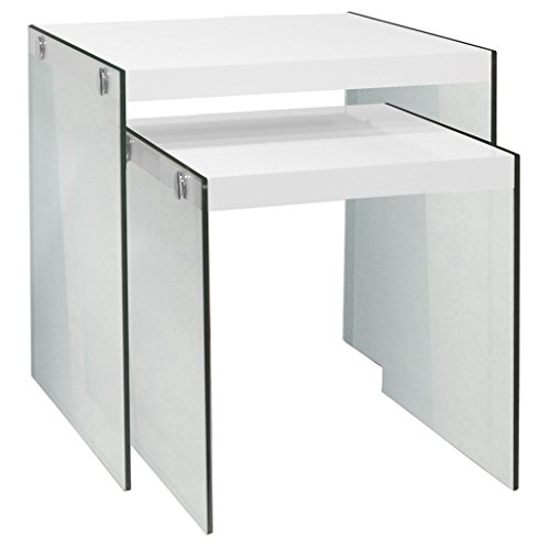 Monarch Specialties I 3287,Nesting Table, Tempered Glass, Glossy White (Nesting Glass)