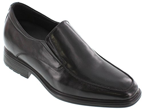 CALTO G60128A - 3 inches Taller - Height Increasing Elevator Shoes - Black Slip-on Oxfords 6qNnTCvj