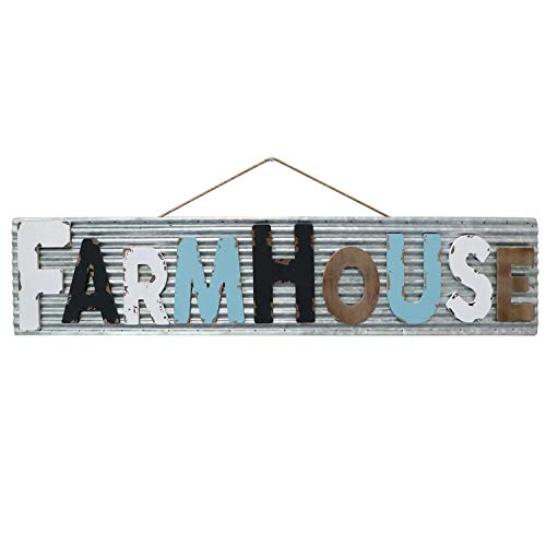 Barnyard Designs Large Vintage Wooden Cutout Farmhouse Sign with Galvanized Metal Backing | Primitive Country Home Decor, Comes with Rope for Easy Hanging, 46