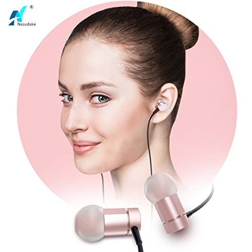 NASUDAKE MFi A1 Plus iPhone Earbuds, Stereo Lightning Headphones w/Noise Cancelling Siri Active Feature Lightning In-Ear Wired Earphone w/Mic & Remote for iPhone X, 8/8 Plus (Rose Gold) by Nasudake (Image #4)
