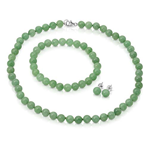 Regalia by Ulti Ramos Genuine Green Jade 3pcs Jewelry Set, Necklace, Bracelet and Stud Earring in Sterling Silver (24.00, 10.0mm) ()