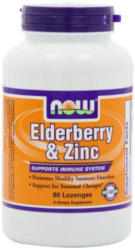 NOW Foods Elderberry and Zinc, 90 Lozenges (Pack of 2)