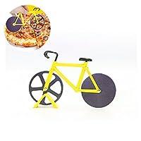 Fahrrad Pizzaschneider, Tie langxian hochwertigem Edelstahl Fahrrad Pizzaschneider mit Dual Rotierende Klinge Geeignet für Familienfeiern, Partys, Picknicks Geschenke(gelb)