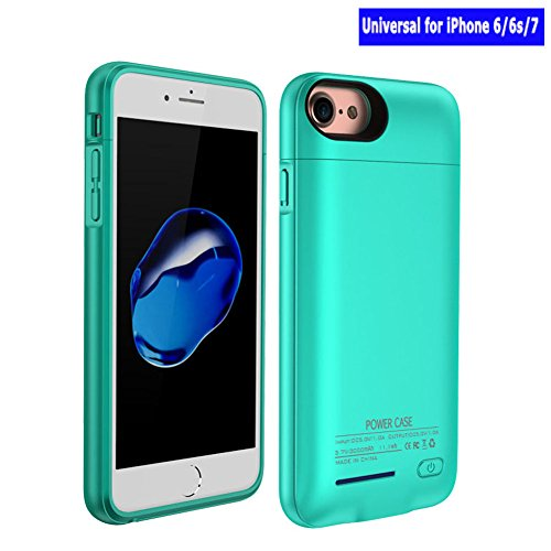 REDGO 3000mAh Magnetic Battery Case iPhone 8, iPhone 7, iPhone 6/6s Power Bank Case Super Slim Charging Case Portable Wireless Jucie Pack Charger Case with 4 Led Indicator Lights, (Turquoise/Teal)