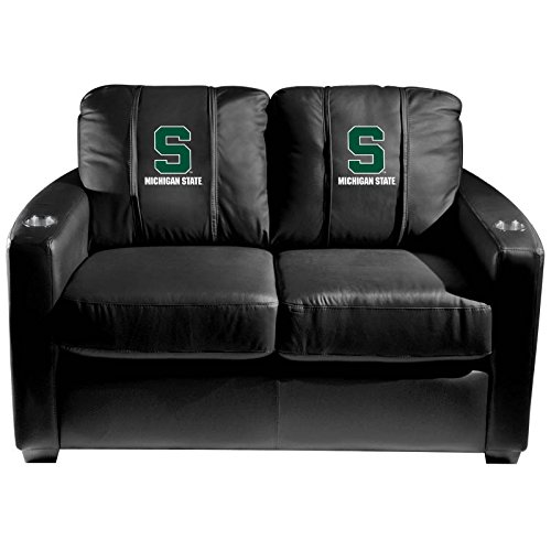 XZipit College Silver Loveseat with Michigan State Secondary Logo Panel, Black
