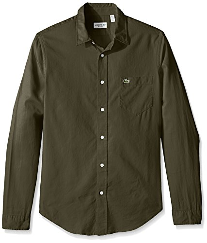 lacoste-mens-long-sleeve-yarndyed-garment-wash-solid-reg-fit-woven-shirt-ch3936-51-army-safari-44