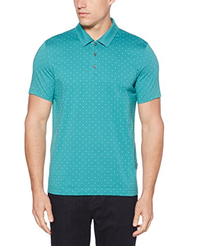 - Perry Ellis Men's Micro Print Pima Cotton Polo Shirt, Green/Blue-4DSK7174 Extra Extra Large