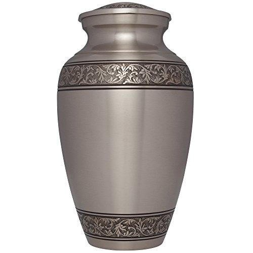 Liliane Memorials Silver Funeral Cremation Urn in Pewter Finish Treviso Model in Brass for Human Ashes; Suitable for Cemetery Burial; Fits Remains of Adults up to 200 lbs, Large/200 lb, ()