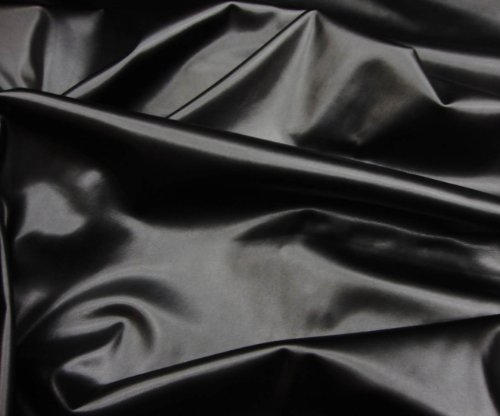 Black 2 Way Stretch Vinyl Clothing Fabric Per Yard 58