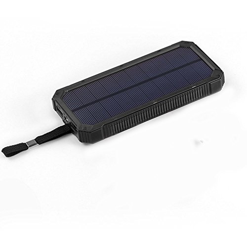 Virocana Solar charger 15000mAh Solar Power Bank with 6 LED Flashlight Dual USB Port Portable Battery Charger Rain-Resistant Solar Phone Charger Outdoor Backup Power Pack for Cell Phone(Black)