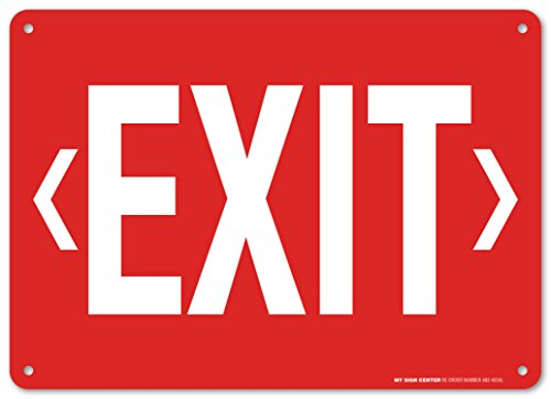 Sign Arrow Double (Exit With Double Arrows Safety Sign - Emergency Exit Signs - 10