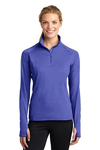 Sport-Tek Women's Sport Wick Stretch 1/2 Zip Pullover, Iris Purple, XXX-Large