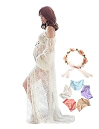 Sannyway Maternity Photography Dress Off Shoulder Photoshoot Maxi Gown Split Front