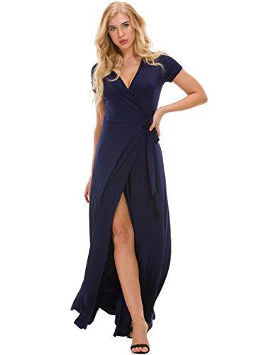 Missufe Wrap Maxi Dress Women's Short Sleeve Slit Crossover V Neck Long Dress with Belt (Navy Blue, (Crossover Wrap)