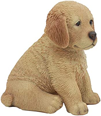 Ebros Realistic Lifelike Fawn Golden Retriever Figurine 6.5 Tall Golden Retriever Puppy Collectible