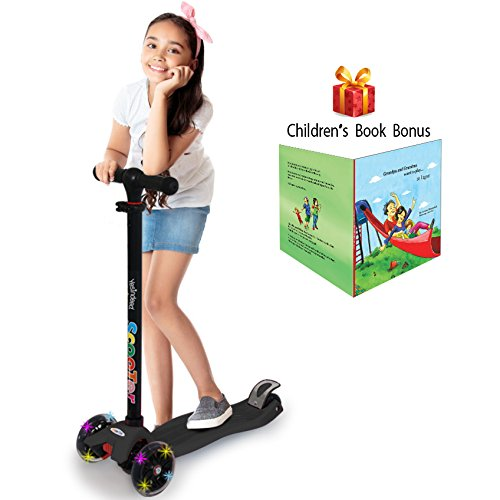 3 Wheel Kick Scooter. For Kids 2-12 Years, Premium Aluminum, Adjustable Height, PU Wheel with LED Rear Lights. 4 Years Warranty. 5 colors (Black + Bonus Book Children) -