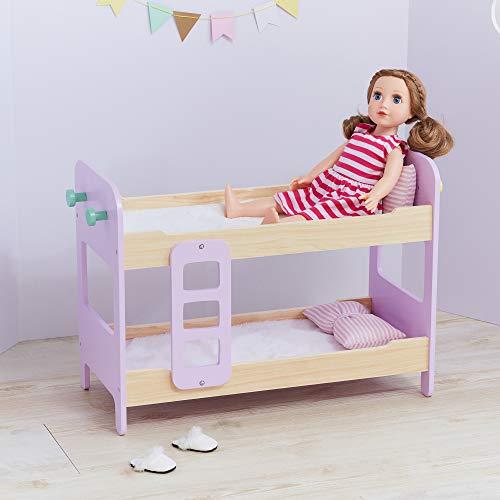 - Olivia's Little World - Modern Nordic Princess Doll Bunk Bed, Wood/Pink, 24.8
