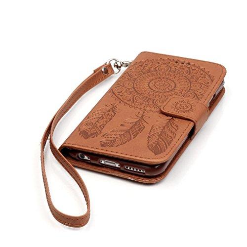 Trumpshop Smartphone Carcasa Funda Protección para Apple iPhone 6/6s 4.7 + Blanco y Púrpura + PU Cuer Caja Protector con Función de Soporte Ranuras para Tarjetas Crédito Choque Absorción + 3 regalos Marrón