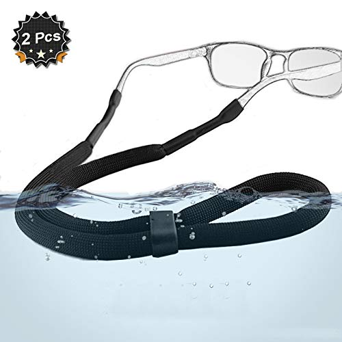 Adjustable Sports Sunglasses Safety Holder Floating Retainer Strap Eyewear Retainer, Black, Pack of 2