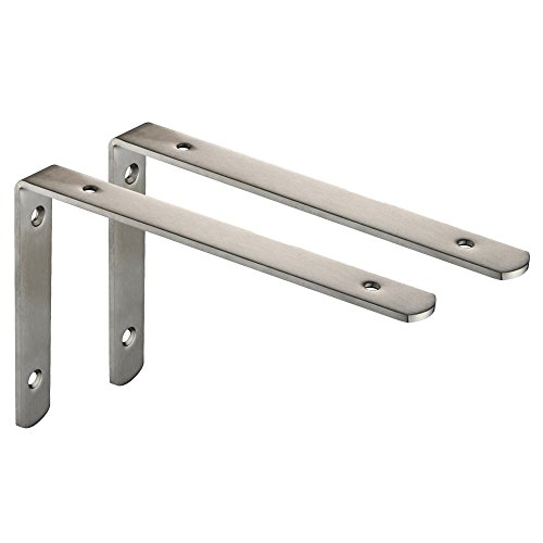 Mellewell 2 PCS Stainless Steel Heavy Duty L-Shaped Corner Braces Joint Angle Bracket Shelf Brackets, 10 x 6 inches, CB8017D-2 by Mellewell