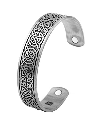Health care Magnetic bracelet power fitness Mens Cuff Bangle engraved knot Viking Bangles ethnic bracelet personalized jewelry (Antique silver)