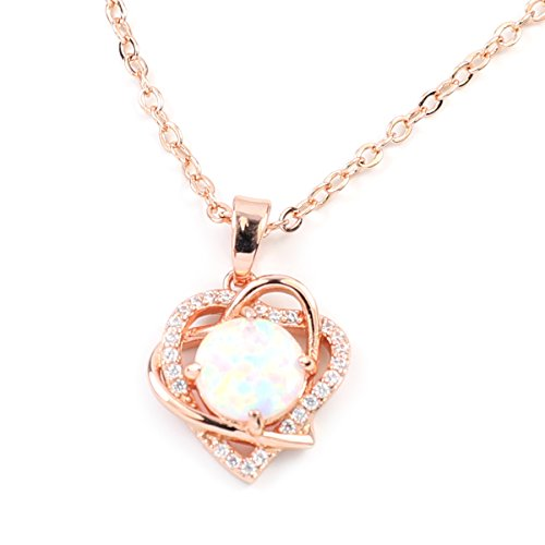 FC JORY White & Rose Gold GP Women Girl CZ Crystal Pendant Open Heart Created Fire Opal Necklace (Rose -