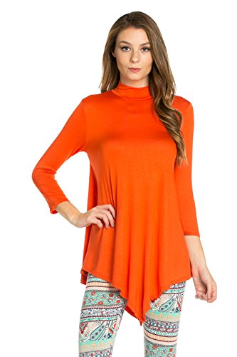 Mock Neck Tunic Top - Frumos Womens Tunic Mock Neck 3/4 Sleeve Top Orange Small