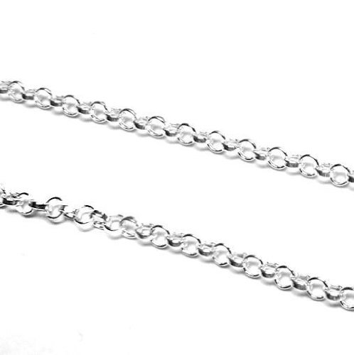 12 inches .925 Sterling Silver Bead 2mm Flat Dc Round Ring Link Cable Footage Chain/Findings/Bright (Round Link Cable Chain)