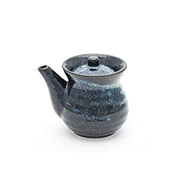 Traditional Japanese Style Soy Sauce Shoyu Dispenser With Round Lid Capacity 9 oz Handcrafted in Japan (Dark Blue)