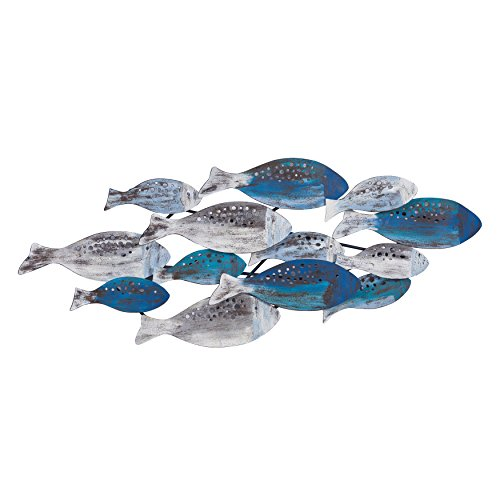 Danya B. FHB6563 School of Fish Modern Metal Wall Art - Perfect for Coastal, Nautical, Beach, or Boat Décor