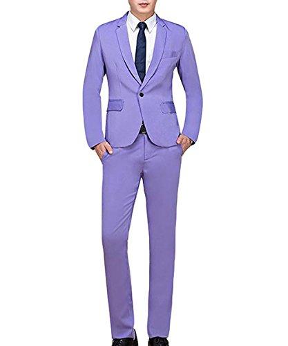 Cloudstyle Men's Suit Single-Breasted One Button Center Vent 2 Pieces Slim Fit Formal Suits Light Purple
