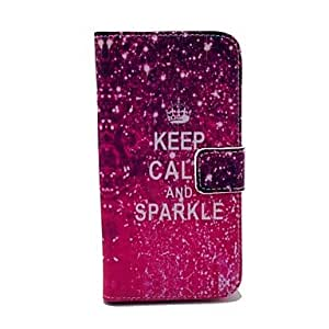 PEACH KEEP CALM AND SPARKLE Words Shining Pattern PU Leather Full Body Case for Samsung S4 I9500