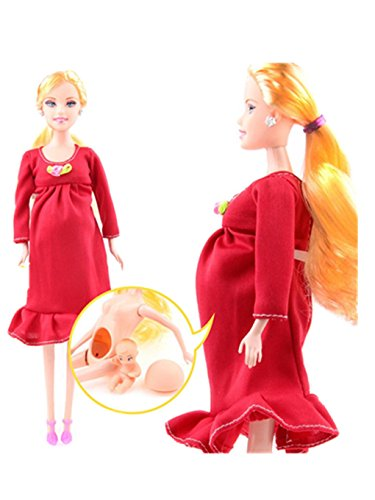 Baby Doll Dresses For Adults (WARMSHOP Soft Plastic Lovely Simulation Pregnant Barbie Doll Mom & Baby In Her Tummy Developmental Baby Toys (Red))