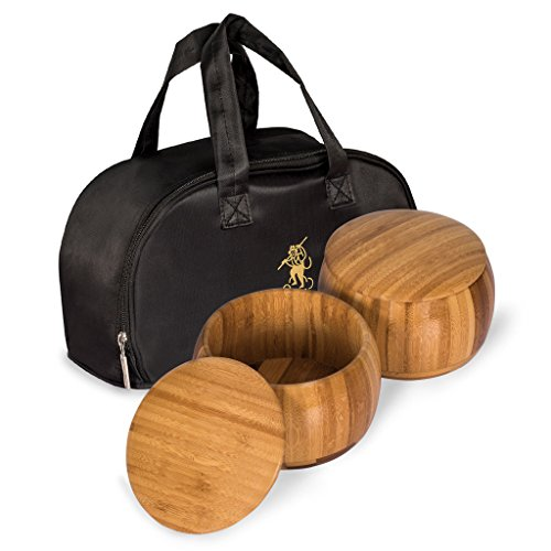 Bamboo Bowls (Gosu) and Carrying Bag for Go Game Stones