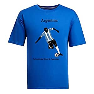 Custom Mens Cotton Short Sleeve Round Neck T-shirt,2014 Brazil FIFA World Cup teams blue