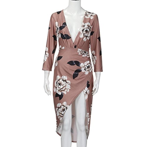 Full Neck Slim Print Dress Bohemian Autumn Coffee Show Women Floral G Sleeve Casual Long V Figure Bodycon Tian Autumn Sleeve Winter aOxBxw