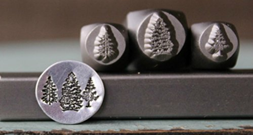 (Brand New 3 Stamp 8mm and (2) 6mm Pine Trees Metal Punch Design 3 Stamp Set - Supply Guy -)